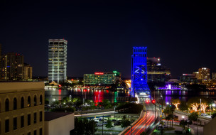 города, огни, ночного, jacksonville, florida, usa