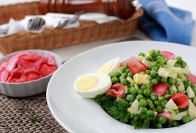 еда, салаты, закуски, салат, яйца, горошек, петрушка
