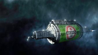 beck`s, бренды, пиво, космический, корабль, банка, реклама