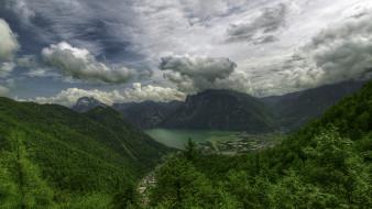 обои для рабочего стола 1920x1080 природа, пейзажи, австрия, альпы, горы, небо, озеро, деревья, пейзаж