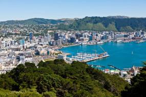 веллингтон, новая, зеландиия, города, зеландия, панорама, дома, море