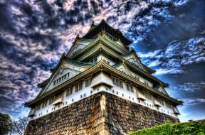 города, замки, Японии, пагода, тучи