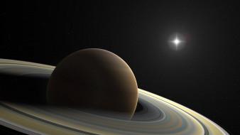 обои для рабочего стола 1920x1080 космос, сатурн, кольца, планета, звезда