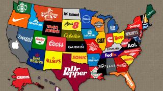 Карта самых известных брендов каждого штата США обои для рабочего стола 1920x1080 карта, самых, известных, брендов, каждого, штата, сша, бренды, другое, америка