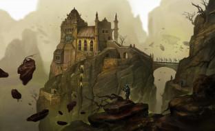 фэнтези, замки, горы, замок