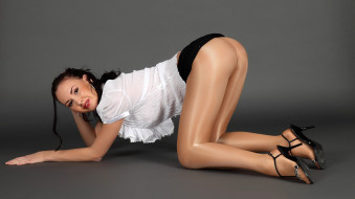-Unsort Брюнетки Шатенки, jacquelyn, девушки, unsort, брюнетки, шатенки, блузка, колготки, туфли, каблуки