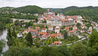 Чехия, карловы, вары, loket, города, панорамы, дома, река, мост
