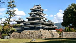 Япония, нагано, города, замки, Японии, парк, пруд, трава, деревья, замок