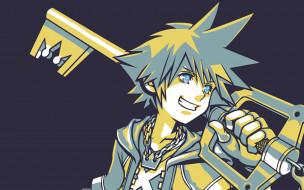 sora, аниме, kingdom, hearts, мальчик, ключ