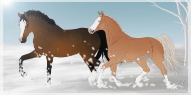 обои для рабочего стола 4274x2141 рисованные, животные, лошади, снег