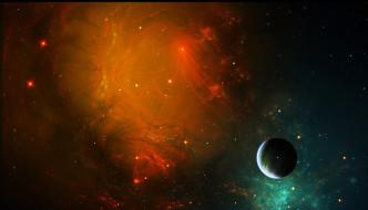 обои для рабочего стола 2000x1145 космос, арт, туманность, свет, звезды, планеты