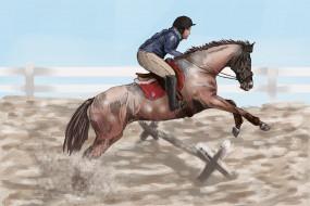 обои для рабочего стола 2501x1670 рисованные, животные, лошади, всадник, лошадь