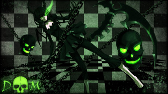 аниме, black, rock, shooter, цепи, череп