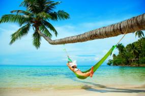обои для рабочего стола 4998x3337 -Unsort Брюнетки Шатенки, девушки, unsort, брюнетки, шатенки, лето, гамак, океан, тропики, отдых, пляж, побережье