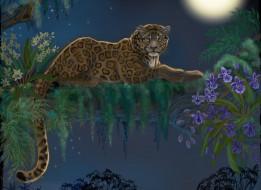 рисованные, животные, леопард, животное, хищник, взгляд, хвост, дерево, цветы, листья, лежит, ночь, луна