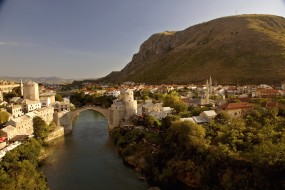 города, мостар, босния, герцеговина, вода, мост, дома