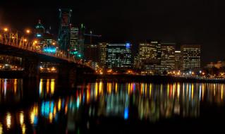 портленд, сша, города, огни, ночного, ночь, река, дома, мост