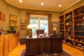 обои для рабочего стола 2048x1365 интерьер, кабинет, библиотека, офис, кресло, стол, книги
