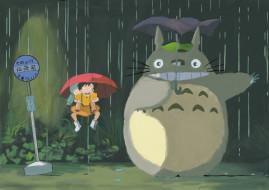 tonari, no, totoro, аниме, *unknown, другое, остановка, дождь, зонты