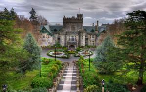 hatley, castle, garden, города, дворцы, замки, крепости, канада, замок, аллеи, газоны, деревья, цветы, парк