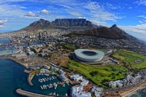 города, кейптаун, юар, панорама, стадион, побережье, south, africa, cape, town, горы, порт