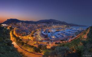 города, монте, карло, монако, monaco, панорама, ночной, город