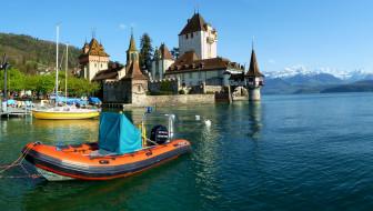 замок, oberhofen, switzerland, города, дворцы, замки, крепости, швейцария, озеро, лодка