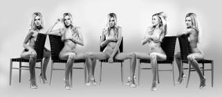 эротика, блондинки, чёрно-белая, angela, anderson, стул
