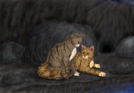 обои для рабочего стола 1921x1344 рисованные, животные, коты