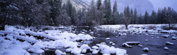 обои для рабочего стола 3840x1200 природа, реки, озера, лес, снег, река