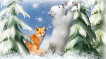 рисованные, животные, ели, снег