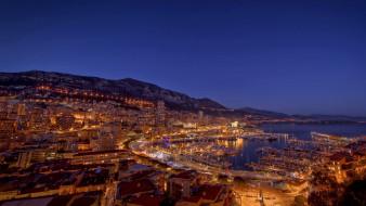 города, монте-карло , монако, панорама, дома, деревья, ночь, огни, река