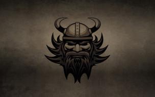 обои для рабочего стола 1920x1200 рисованные, минимализм, галл, борода, голова, рога, шлем, темный, фон, викинг, viking