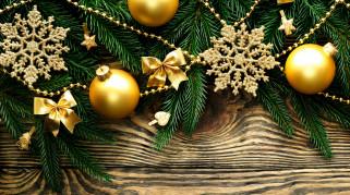 обои для рабочего стола 4500x2510 праздничные, украшения, ветки, снежинки, шарики, бантики
