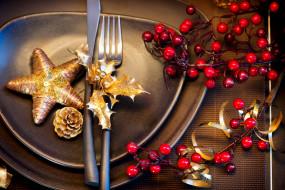 обои для рабочего стола 5500x3670 праздничные, украшения, сервировка, тарелки, вилка, нож, ягоды, шишка, звезда