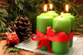 обои для рабочего стола 4272x2848 праздничные, новогодние свечи, лента, свечи, бант, шишка