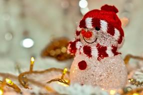 праздничные, снеговики, лампочки, снеговик, гирлянда