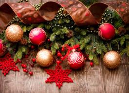обои для рабочего стола 5000x3588 праздничные, - разное , новый год, шарики, ветки, ягоды, шишки, лента, снежинки
