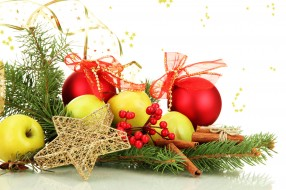 праздничные, украшения, ветка, звезда, шарики, яблоки, корица, ягоды