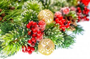 обои для рабочего стола 3200x2096 праздничные, украшения, ветка, шарики, ягоды