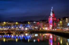 la rochelle,    франция, города, - огни ночного города, ночь, огни, река, дома, франция, la, rochelle