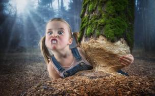 юмор и приколы, девочка, дерево, зубы, бобёр
