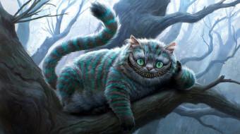 рисованные, животные, дерево, улыбка, кот