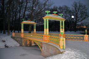 пушкин , царское село, природа, парк, река, мосты, деревья, ночь, фонари