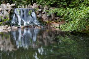 природа, водопады, лес, река, обрыв, камни, водопад