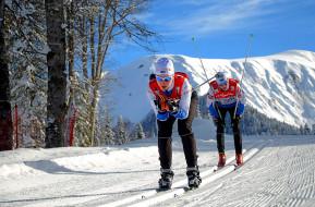 обои для рабочего стола 3000x1979 спорт, лыжный спорт, трасса, деревья, лыжи, снег, гора, спортсмены, лыжня, лыжники