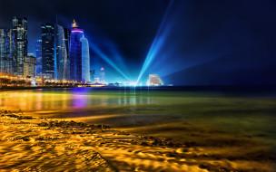 doha,  qatar, города, - столицы государств, qatar, побережье, катар, доха, persian, gulf, лучи, ночной, город, персидский, залив