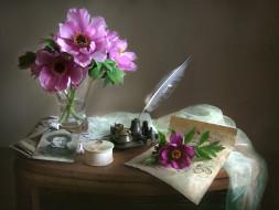цветы, пионы, букет, пушкин, чернильница, перо