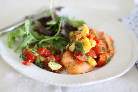 еда, рыбные блюда,  с морепродуктами, сальса