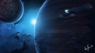 обои для рабочего стола 1920x1080 фэнтези, космические корабли,  звездолеты,  станции, планеты, флот, звездный, корабли, космические
